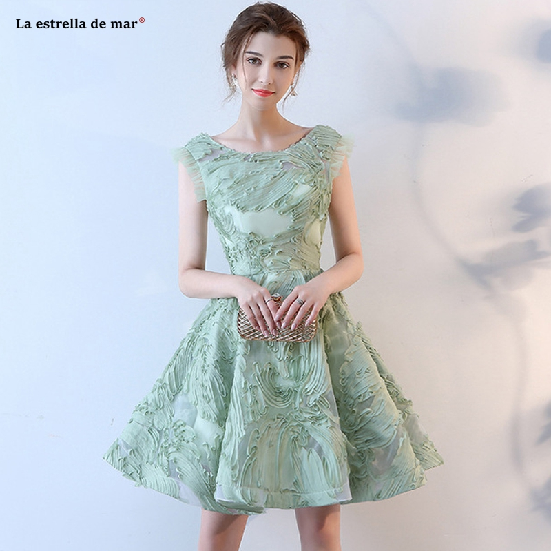 Vestido de fiesta para boda2019 new Scoop neck lace Sage   bridesmaid     dress   knee length wedding guest   dress   plus size sukienka wes