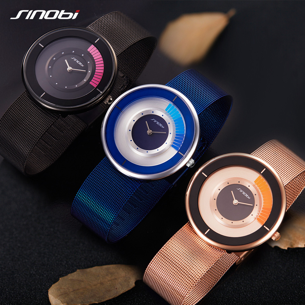 Sinobi Mens Top Brand Luxury Fashion Watch Men Ultra Thin Steel Mesh Watches Women Dress Quartz Lovers Watch Lady Orologio Uomo