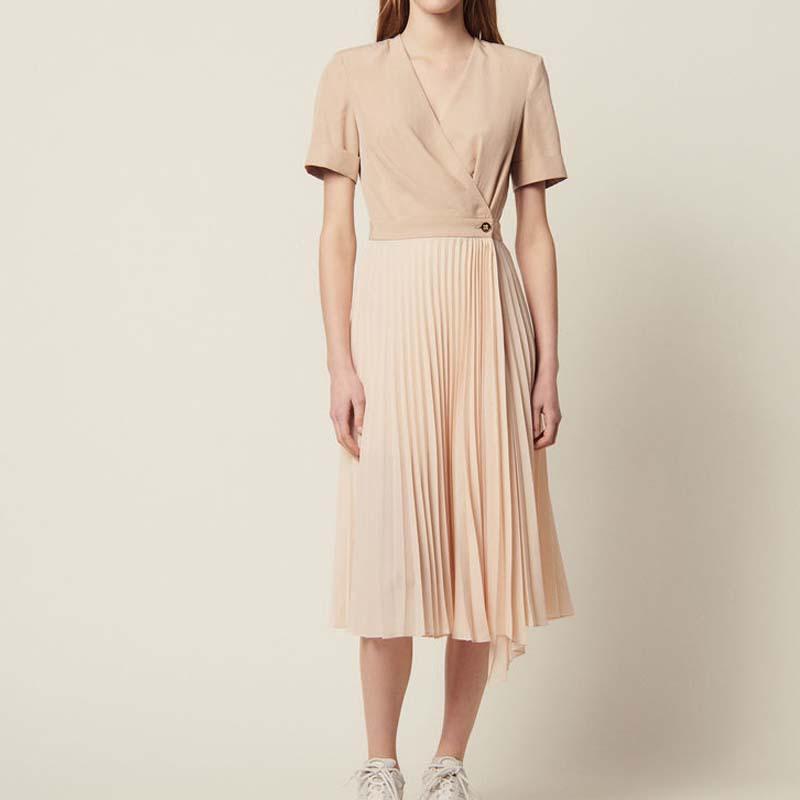 Women Dress 2019 Spring New Collar One piece Short sleeved Pleated Skirt Dress