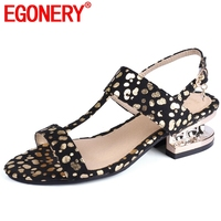 EGONERY party High quality brand women sandals bling sexy ankle wrap woman shoes fashion cool girl ddress 3cm low heels shoes