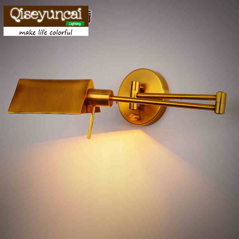 Qiseyuncai American country industrial creative personality retro iron mining French folding mobilize extended wall light