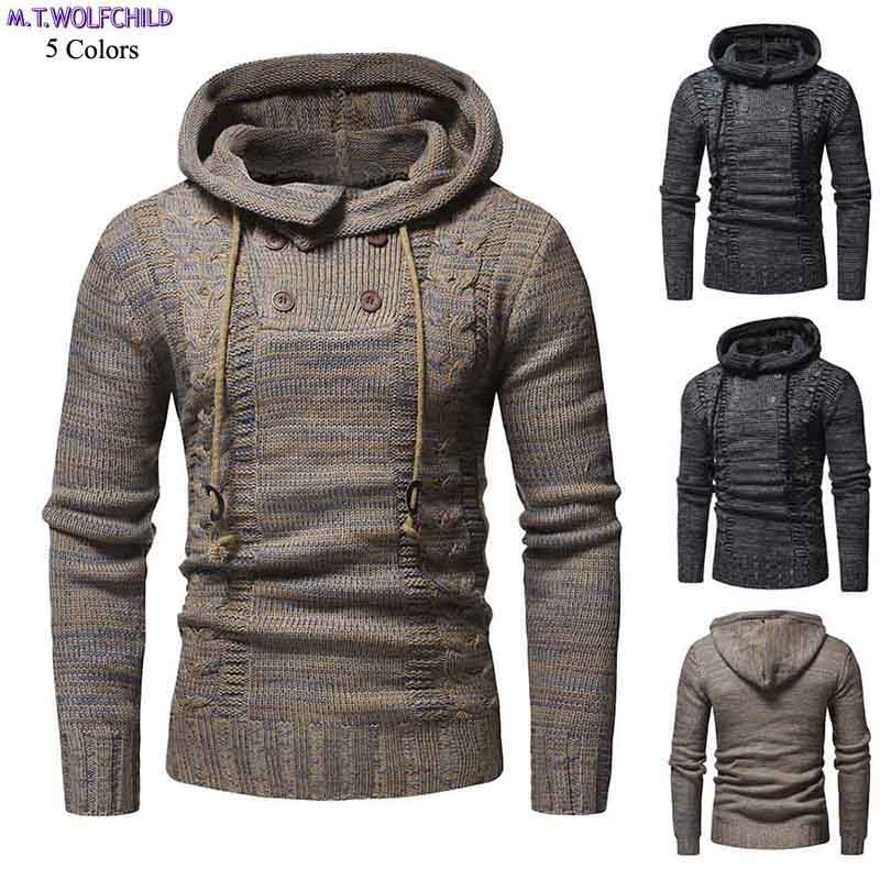 Male Sweaters 2018 New Mens Long Sleeve Hooded Knitted Sweaters Casual Pullovers Knitted Coats Slim Warm Mens Fashion Clothing