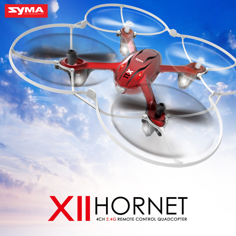 SYMA X11 mini RC Drone LED Light 4CH 2.4GHz 6-Axis Gyro Remote Control RC Helicopter Quadcopter toys-Red