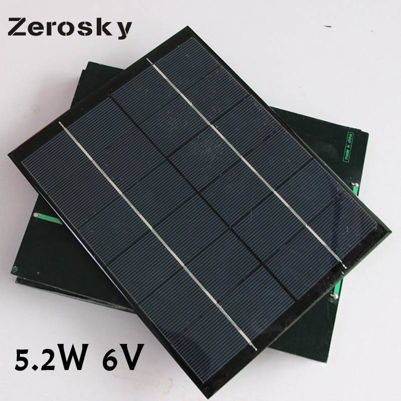 Zerosky 5.2W 6V Solar Panel Battery Charger Solar Cells DIY Modul With USB Output Power Bank Camping Charger For Phone 210*165MM