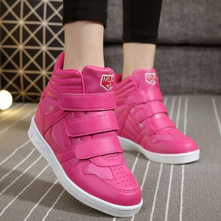 2017 Новая коллекция весна осень ботильоны каблуки обуви женщины повседневная обувь высота увеличение клинья обувь высокого топ-смешанные цвета