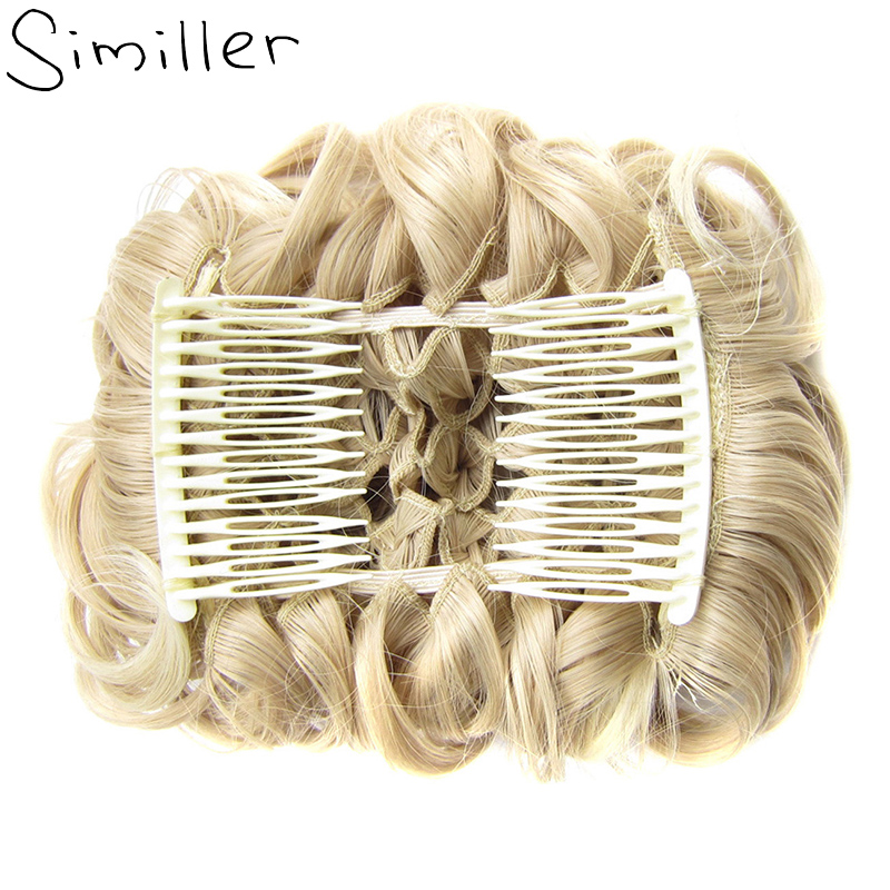 Similler Synthetic Short Messy Curly Dish Hair Bun Extension Easy Stretch Combs Clip In Tray Ponytail
