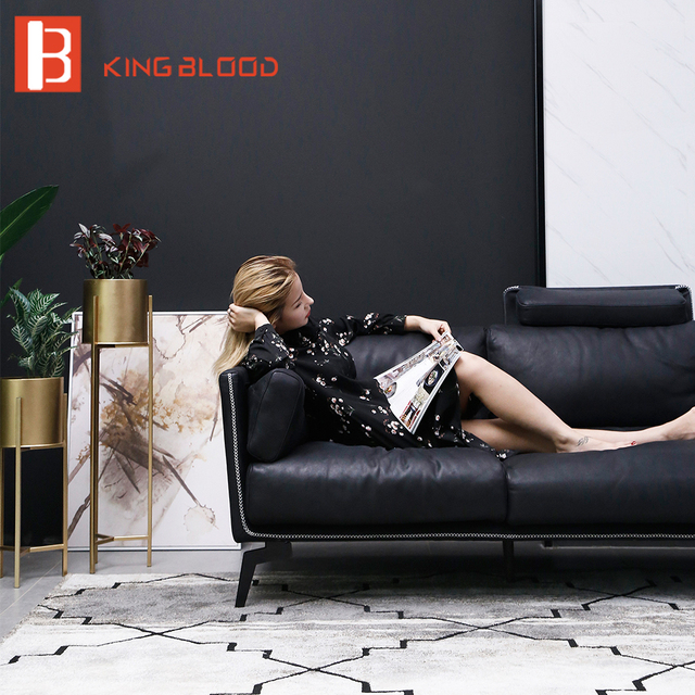 US $2464.0 |modern 3 seater black soft nubuck leather steel frame italian  leather sofas-in Living Room Sofas from Furniture on Aliexpress.com | ...