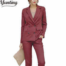 Runway Fashion 2018 New Women's Elegant Pant Suits 2 piece set OL Formal Work Wear Long Sleeve Blazer + Trousers Suit