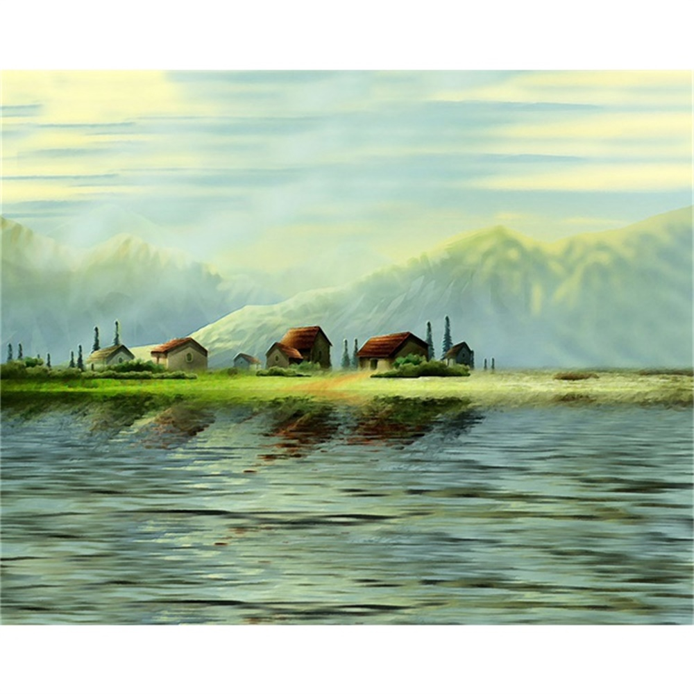 Laeacco Canvas Calligraphy Painting Spring Waterside Posters and Prints Green Mountain Wall Pictures Living Room Home Decoration