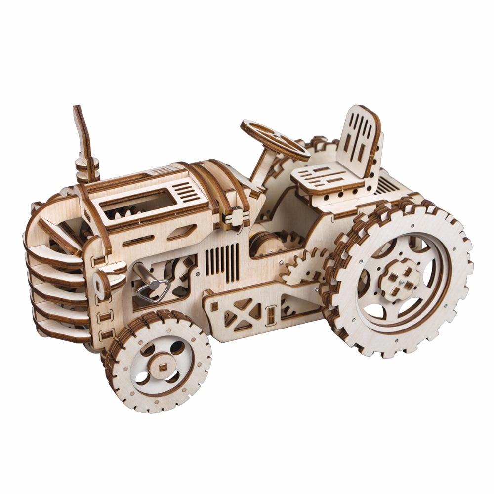 Robotime DIY Hand Crank Gear Drive Tractor 3D Wooden Model Building Kits Toys Hobbies Gift for Children Adult LK401