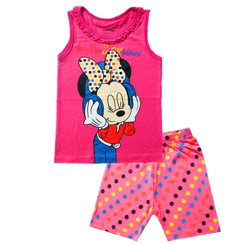 Детские пижамы детский летний комплект без рукавов хлопковое ночное белье с рисунком для мальчиков пижамы для девочек Милая Домашняя одежд...