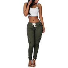 цены JIMMYHANK  Women Fashion Summer Pockets Patchwork Stretch Bottoms Trousers Casual Khaki Pants Plus Size