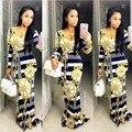 2016 Verano vestido maxi Tradicional Africano Dashiki Imprimir Vestido largo Dashiki Elástico Bodycon elegante Vestidos de época
