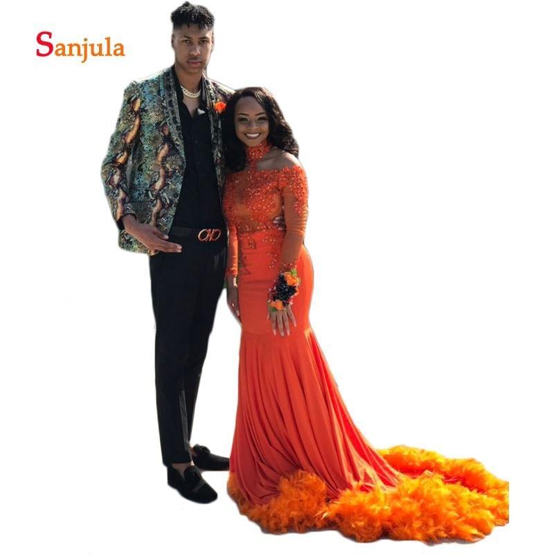 Col haut robes de bal 2019 brillant perlé paillettes gaine longue robe de bal Appliques Orange Graduation robe plumes fête porter D635