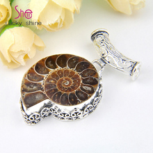 Free Shipping Holiday Gift Hot Sell Jewelry Unique Nautilus fossils Pendants Russia USA Canada Party Pendants for Necklaces(China)