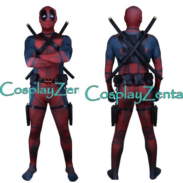 Frete Grátis Traje Deadpool Deadpool 3D Impressão Terno com Cinto Titular  Titular Arma Espada Cosplay Dia 7c489324a8cd