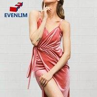 V cuello Rosa vestido de terciopelo sexy mujeres tarde partido vestido largo backless sundress con la correa vestidos de festa DR1308