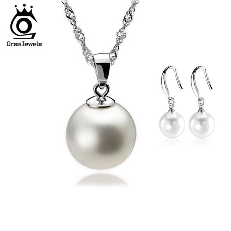 ORSA JEWELS Wholesale Pearl Jewelry Set Silver Color Material Top Quality OS10