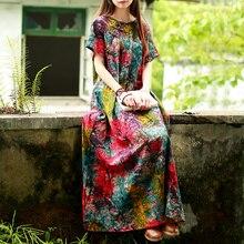 Hisenky Summer Women Dress Short Sleeve Ethnic Maxi Dresses Colorful Print Forest Mori Girl Cotton Long Robe Femme Ete Vestidos