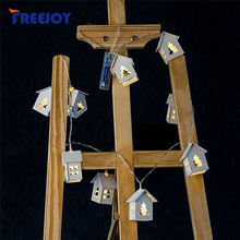 FREEJOY Battery Operation Wooden Christmas Tree String Lights With 10 LED House Shape Christmas Lights For Outdoor Decorations