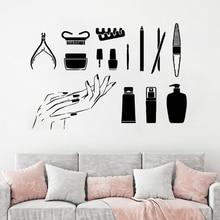 Vinyl Wall Sticker Manicure Tools Wall Decal Beautiful Nails Wall Art Mural Nail Art Polish Wall Poster Nails Salon Deocr AY1096