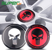 Legal 3D THE Punisher Crânio Do Pneu Da Roda de Direcção Do Carro Centro Hub Cap Emblema Do Emblema Do Decalque Etiqueta Do Carro para o Opel Renault mazda BMW AUDI(China)