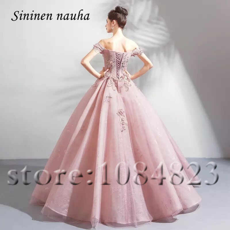 fe09f742f1 Pink Quinceanera Dresses Off The Shoulder Appliques Ball Gown Long Prom  Party Dress Vestidos De 15 Anos Sweet 16 Dresses 302