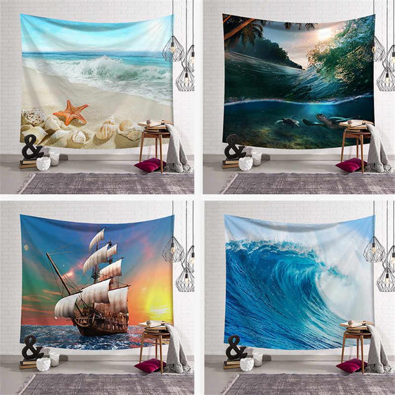 Mata plażowa karimata koc do jogi gobelin morze i łódź drukuj poliester ściany wiszące dywan duży 150*200cm gobelin