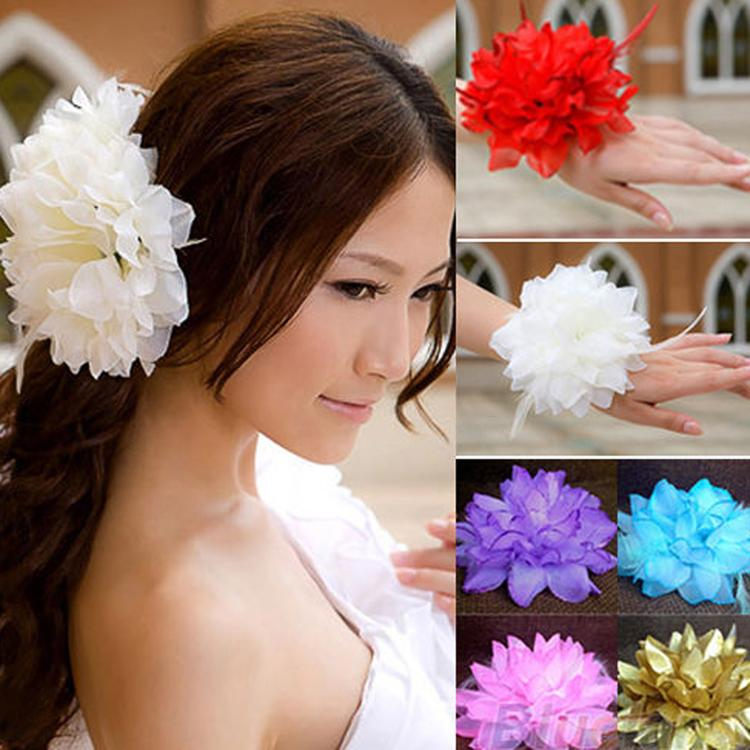 Fashion 10 Colors Dance Performance Silk Flower Headdress Bridal Head Flower Wrist Flower