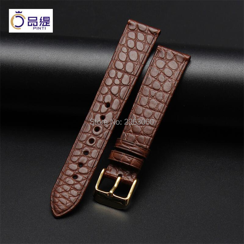 Thin Top grade 13 18 19 20 22mm Black Leather WatchBand Brown Alligator Skin Strap Pin