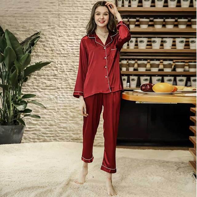 5148bc813f 2018 Women Red Color Satin Silk Pajama Set Sleepwear Female Night Wear  Pajama Suit Long Sleeve Sleepwear Set Two-pieces Homewear