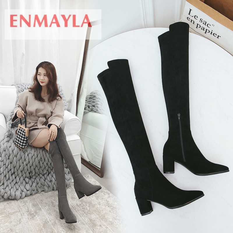 ENMAYLA  Pointed Toe  Basic  Zip  Over-the-Knee  Square Heel  Boots Women  Zapatos De Mujer  Shoes Woman Size 34-42 ZYL1888ENMAYLA  Pointed Toe  Basic  Zip  Over-the-Knee  Square Heel  Boots Women  Zapatos De Mujer  Shoes Woman Size 34-42 ZYL1888