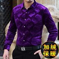 Soft and skin-friendly velvet high-end boutique long-sleeved shirt 2016 Autumn&Winter business casual quality men shirt S-XXXL