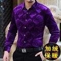 Suave y agradable a la piel de terciopelo de alta gama boutique de manga larga camisa de 2016 Del Otoño y Del Invierno casual de negocios calidad hombres camiseta S-XXXL