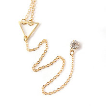 New Fashion Crystal Pendant Long Chain Necklace Gold Silver Triangle Exquisite Choker Charm Necklace Women Jewelry new style charm sex gold silver 2colors chain clothing longer chain body jewelry by146