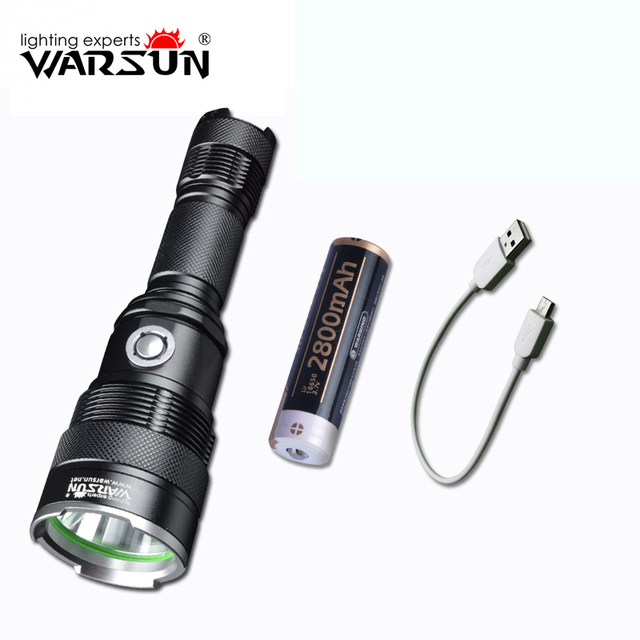 Warsun Anti-wolf Charging Waterproof LED Bulb Flashlight Torch 5 Modes Led Downlight Livolo Portable Tactical Flashlight 18650