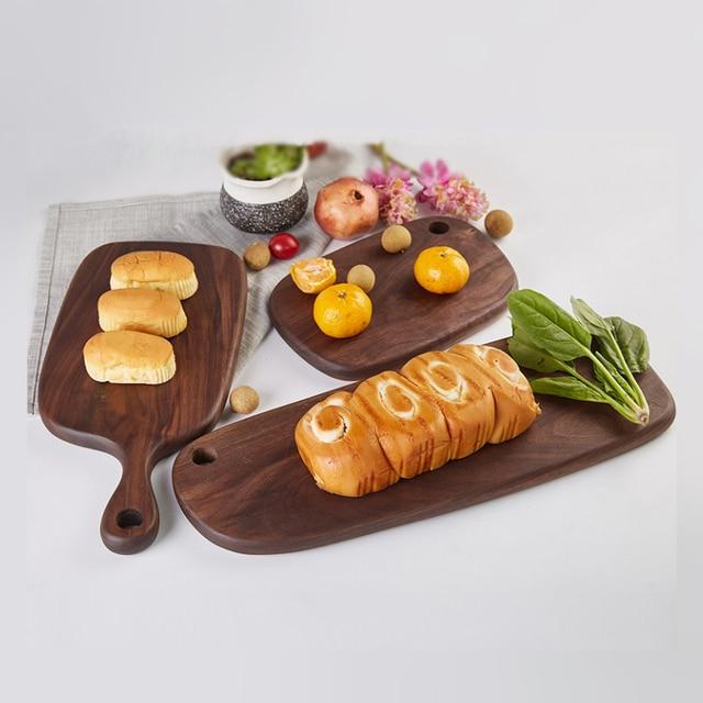 1pc RSCHEF Black Walnut Chopping Blocks Kitchen Wood Food Plate Wooden Pizza Sushi Bread Whole Wood Tray Cutting Board No Paint 5