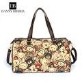 Danny Biebei Women messenger bags Canvas Handbag Shoulder Bag Large Capacity portable retro postman bear bag long bag