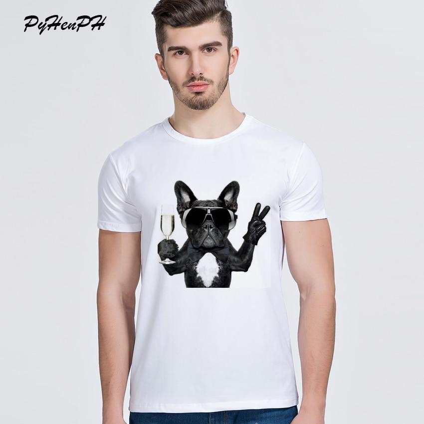 New 2017 French Bulldog Print T-shirt Men Cool Dog Design Summer Short Sleeve T Shirt High Quality Tops Hipster Tees