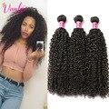 3 Связки Малайзии Девы Волос Кудрявый Вьющиеся Weave Связки Человеческих Волос Темно-Русый Малайзии Afro Kinky Вьющиеся Наращивание Волос