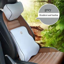 Auto pillow car headrest lumbar support Relieve fatigue Slow rebound Memory cotton foam car office chair back pillows black