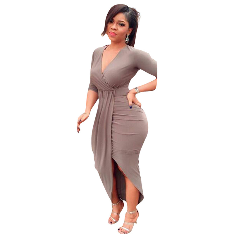 New Plus Size Dresses For Women V-neck Long Dress Sexy Bandage Dress Solid Women Dresses Evening Party