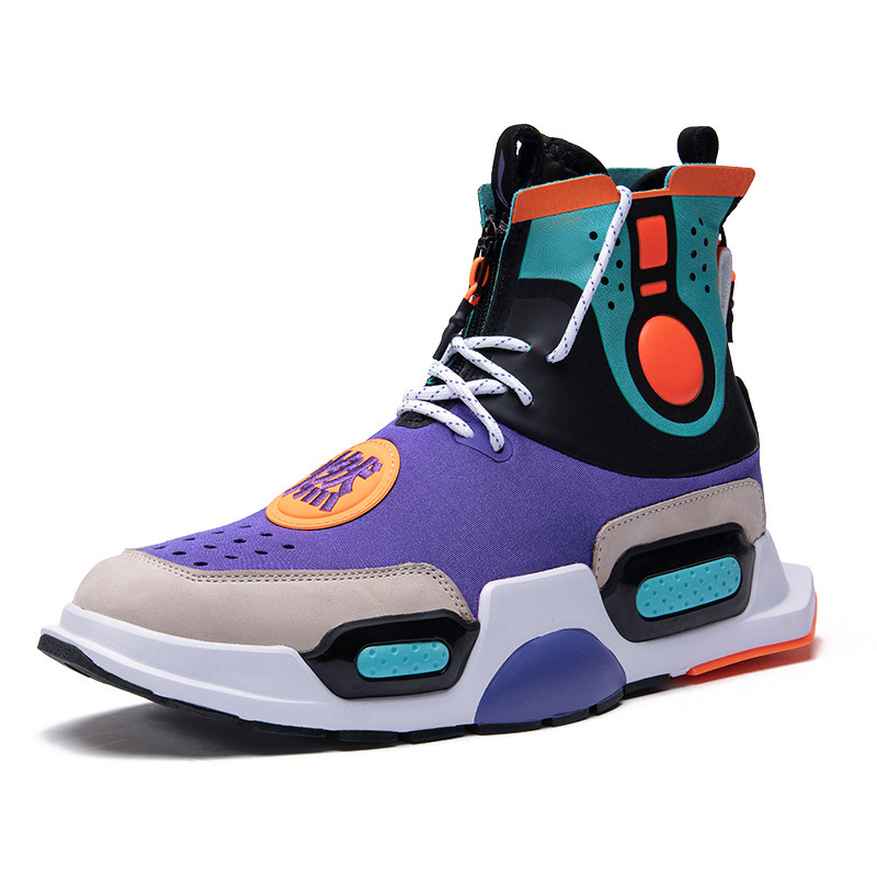 Brand sneakers men 2018 Spring autumn fashion trend Lace-up High help Breathable mesh men Hip hop Street dance basketball shoes недорго, оригинальная цена