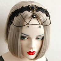 Vintage Gothic Black Lace Tassel Headband Fashion New with Hair Accessories