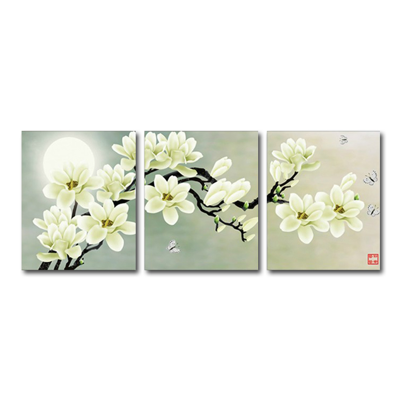 136*52cm Embroidery cross stitch part round rhinestones diamond painting flower moon 5D drill diy diamond painting triptych 3D