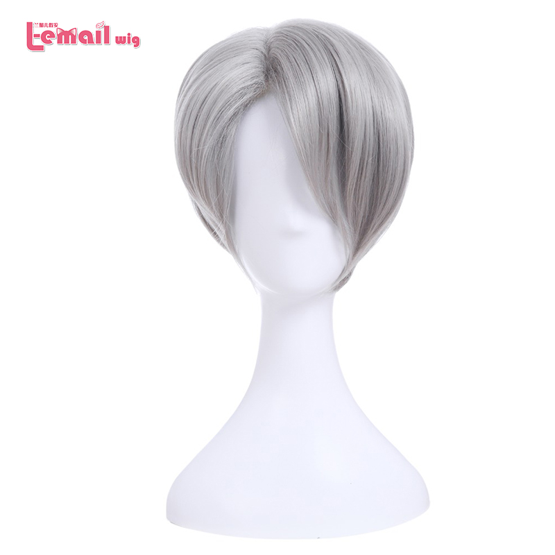 L-email περούκα Νέο YURI !!! για τις περούκες Cosplay ICE Yuri Katsuki Victor Nikiforov Γιούρι Plisetsky Σύντομη συνθετική τρίχα Cosplay μαλλιών
