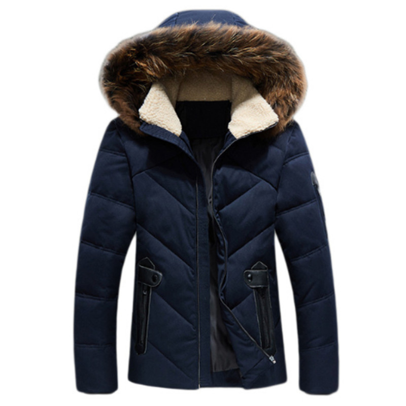 2017 New fashion Mens Winter Down Jacket Hooded White Duck Down Coat Fashion Fur Collar Hat Down Jackets Male Parkas