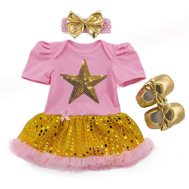 Детские Девушки Золото Одежда 3 Шт. Набор Ребенка Ползунки Пачка Dress Оголовье Блесток Звезда Принцесса Наряд Бренд Детские День Рождения Одежда