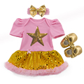 Baby Girls Gold Clothing 3 Piece Set Baby Romper Tutu Dress Headband Sequin Star Princess Outfit Brand Baby Birthday Clothes