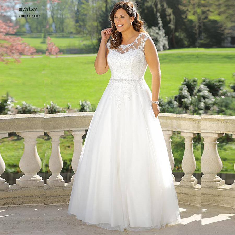 US $85.0 50% OFF|Vintage Lace Wedding Dress 2019 Plus Size Cap Sleeve Scoop  Neck Beading Sequins A line Bridal Gowns Boho Turkey Robe De Bal-in ...